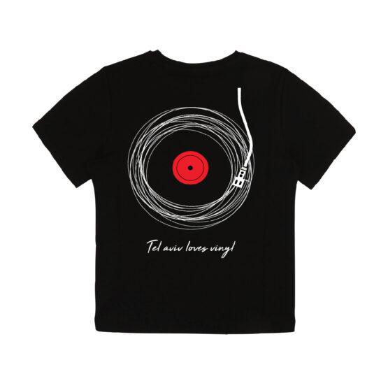 חולצת תקליט שחורה